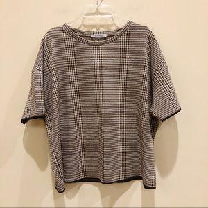 Zara Brown Plaid Short Sleeve Sweater Top